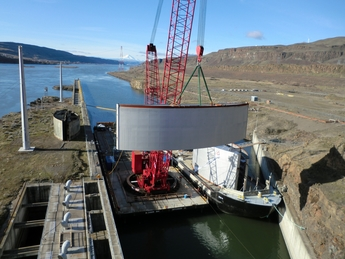 John Day's 1,000 ton navigational lock gate mid-lift