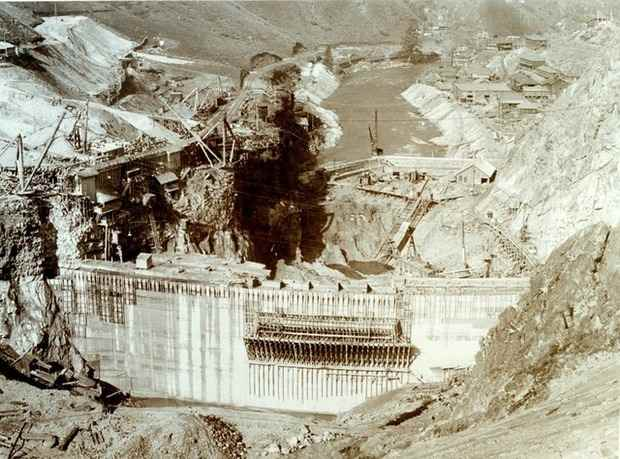 This is an April 1913 photo of the construction of Arrowrock Dam on the Boise River. The dam, which cost $5 million, was 350 feet high and the highest dam in the world at the time of completion in October 1915. (photo: IDAHO STATE HISTORICAL SOCIETY)