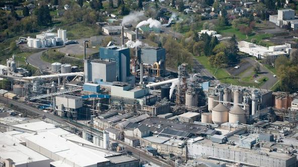 Aerial view of the Georgia Pacific paper mill in Camas Thursday March 26, 2015. (Natalie Behring/The Columbian)
