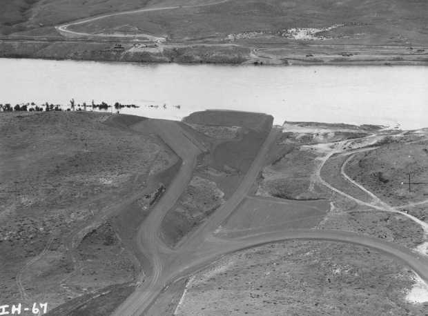 Construction of Ice Harbor Lock and Dam, upstream of the Tri-Cities on the Snake River started in 1956 and it was dedicated by Vice President Lyndon B. Johnson on May 9, 1962