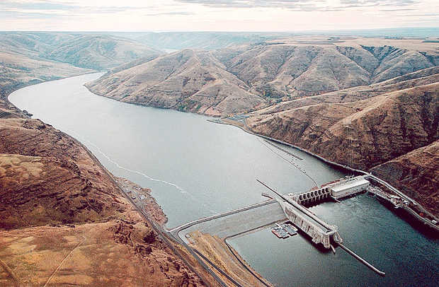 Lower Granite Dam in SE Washington state impounds the Lower Snake forty miles up beyond the Idaho border.