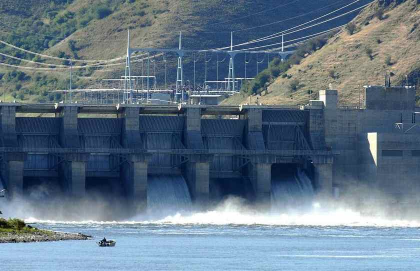 Water spills at Lower Granite Dam, one of the four dams on the lower Snake River. (Lewiston Tribune photo)