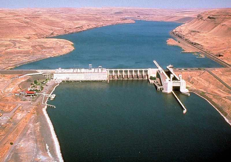 Lower Monumental Dam on the Lower Snake River in a remote region of SE Washington State. (ACOE photo)