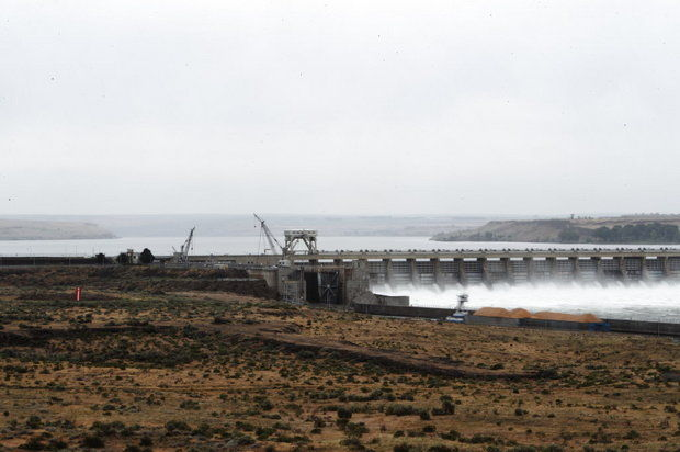 McNary Dam, seen here from the Washington side of the Columbia River, is a critical passage point for migrating salmon and one that river managers have been trying to improve for years. (Bruce Ely/The Oregonian)