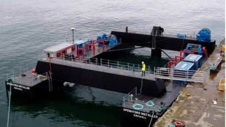 The 2 350-ton turbines could be installed in 2014 if they receive final approval. This barge could be used to do the job.