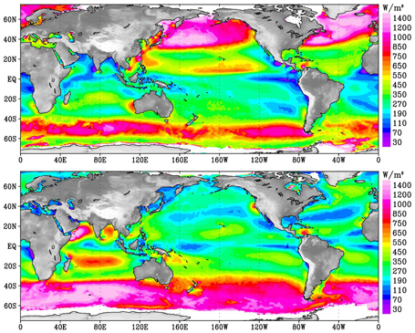 NASA QuickSCAT seasonal global wind intensity map