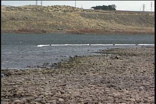 Oil spill near Eagle Island below Ice Harbor Dam