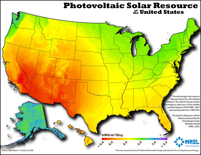 Graphic: Photovoltaic Solar Resource of the United States.
