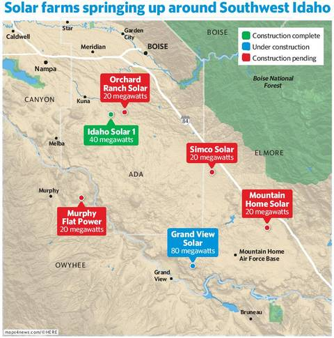 Map: Solar power installations in SW Idaho have just begun in 2016.