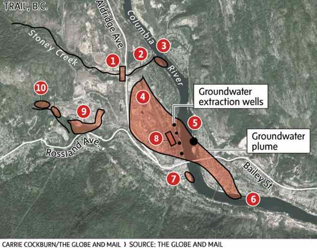Map of Teck Metals pollution that is flowing into the Columbia River near the USA / Canada border. (Carrie Cockburn / The Globe and Mail)