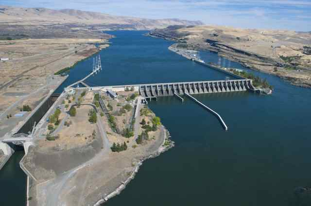 The Dalles Lock and Dam on the Columbia River makes for a slackwater shipping channel where once rushed unnavigable waters.
