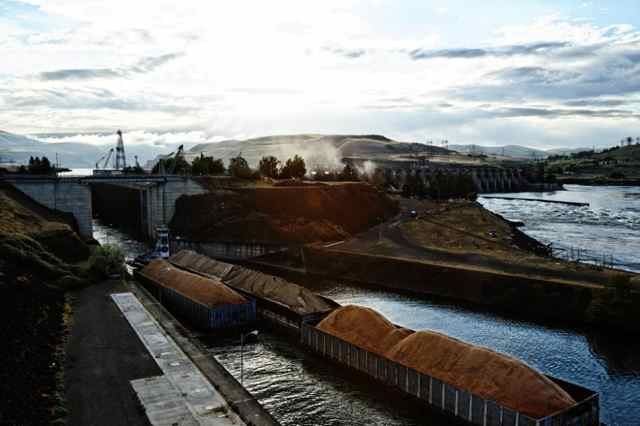 The Kathryn B passes through the locks at The Dalles Dam just after sunrise on June 8, 2012.