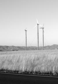 Nicholas Collias photo of three installed windmills in Idaho