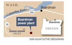 Map location of Oregon's Boardman Coal-fired power plant