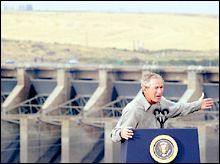 (Reuters: Rick Wilking) At Ice Harbor Dam: President Bush recently made a stop on the Snake River in Washington State, where he made a point of talking about government recovery efforts for endangered salmon.