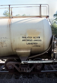 (Thomas Patterson) Anhydrous ammonia, a common fertilizer, is often shipped in rail cars, like this one off U.S. 30 south of the St. Johns bridge.