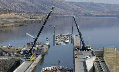 (Brent Wojahn) A vertical lift lock gate was repaired at the John Day Dam on the Columbia River in October 2008. The Army Corps of Engineers plans to replace locks at three dams on the Columbia River beginning in December.