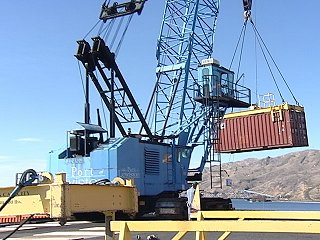 The crane at the Port of Lewiston was kept busy Friday.