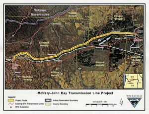 McNary - John Day transmission line project aerial map