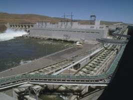 Little Goose Dam in southeast Washington state backs up a 37 mile reservoir on the Lower Snake River, known as Lake Bryan.