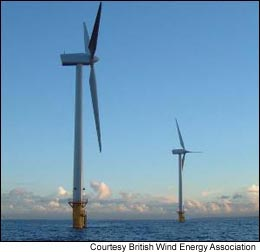 Two wind turbines in the UK's Blyth Offshore Wind Project.