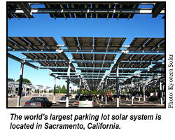 World's largest parking lot solar system is located in Sacramento, California