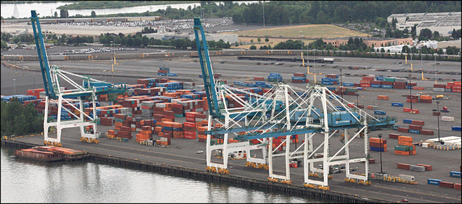 (AP Photo/Rick Bowmer) The Port of Portland's Terminal 6 is shown Friday, June 29, 2012, in Portland, Ore.