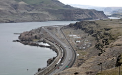(Andy Sawyer) Celilo Village sits up against the cliffs along the Columbia River, fenced in by rail lines and Interstate 84 on the other side, between the village and the place where Celilo Falls used to be.