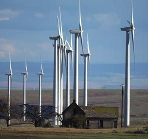(Steve Ringman) Wind farming is taking over old-fashioned farming on Windy Flats, also near Goldendale.