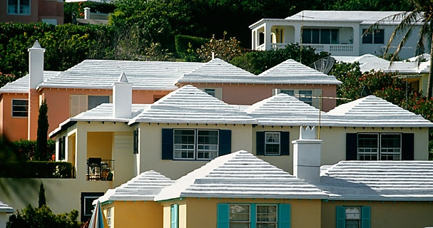 (NEWSCOM) White roofs in Bermuda. The roofs are made from limestone and are built specifically to catch rainwater which is then used for drinking water.