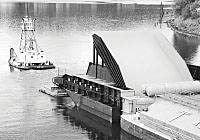 (USACOE photo) The weir, which won the American Council of Engineering Companies' Grand Conceptor Award, is barged to the Lower Granite Dam.