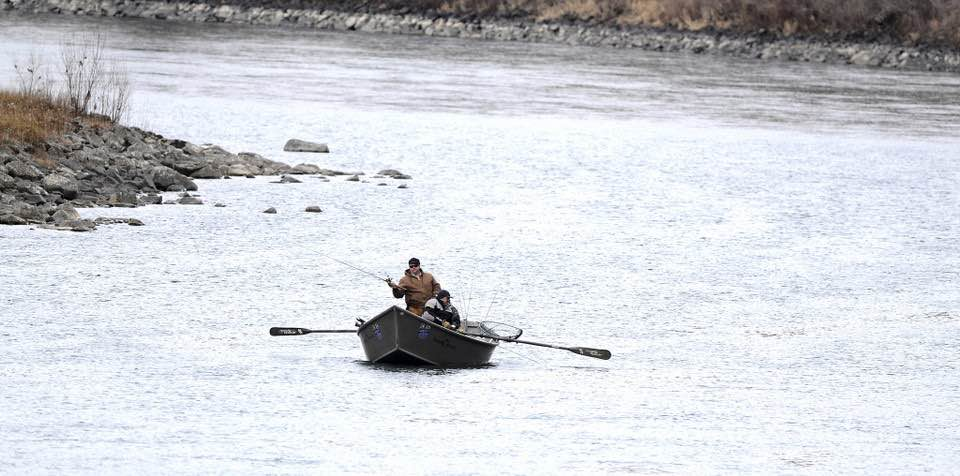 a group of steelhead fishermen have the Clearwater River to themselves, as the make their way down river in Lewiston, Idaho. Fisheries managers should shut down steelhead fishing in the Columbia and Snake river basins to protect a wild run that returns to Idaho's Clearwater River, according to a conservation group. The Conservation Angler said on Saturday, March 3, 2018, that even catch-and-release regulations threaten the survival of B-run steelhead. (Steve Hanks/Lewiston Tribune via AP)