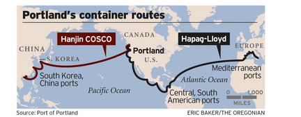 World map of Portland's container routes
