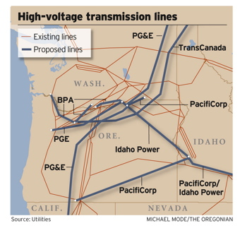 Map of high voltage transmission lines in the Pacific Northwest, existing and proposed.