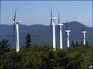 Wind turbines above the tree tops. (AP file photo)